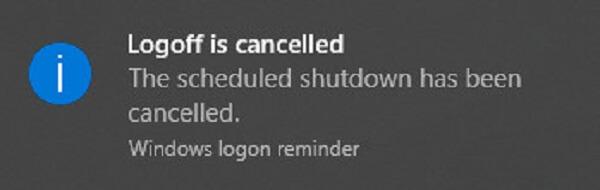 Cách hủy lệnh hẹn giờ tắt máy