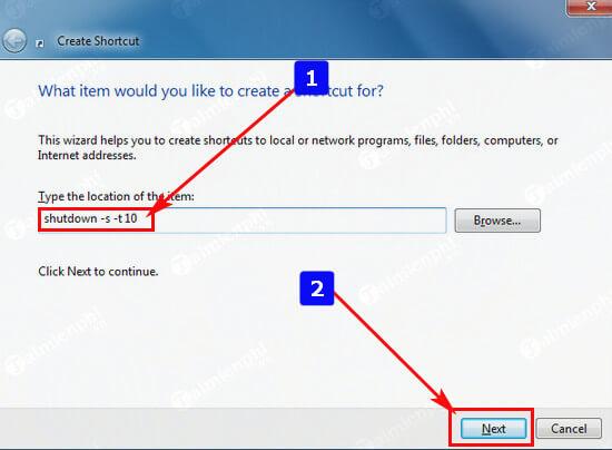 Cách hẹn giờ tắt máy tính bằng Shortcut ở win 7, win 10