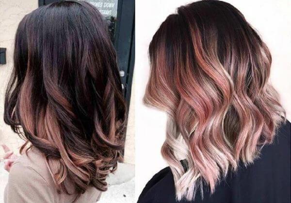 Giữ độ dài tóc vừa phải, có thể uốn nhẹ, nàng kết hợp nền tóc đen móc lai vàng hồng trông sành điệu hơn hẳn.