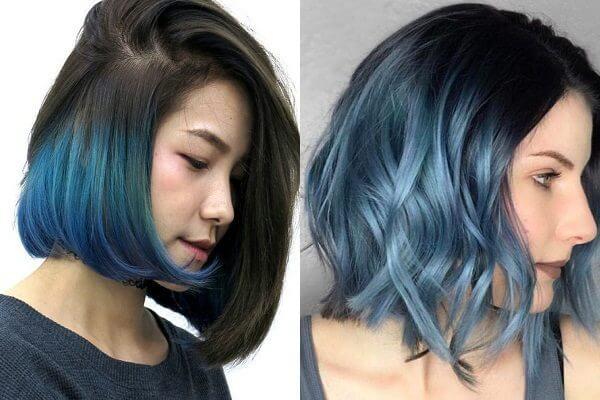 Tóc đen nhuộm highlight xanh ngọc trai