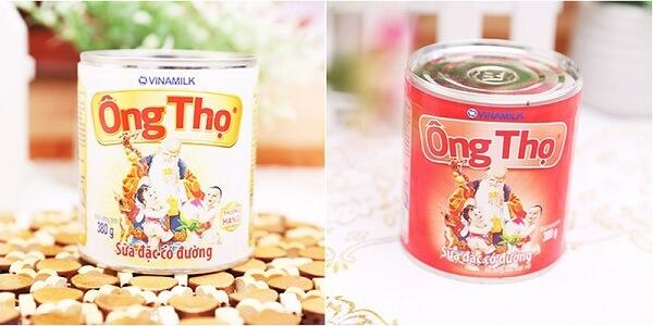 Sữa Ông Thọ Trắng và sữa Ông Thọ đỏ là 2 loại sữa đặc có đường của công ty Vinamilk
