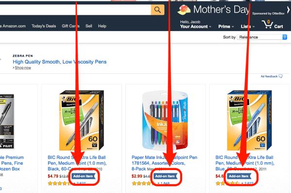 """""""Add on item"""" là cụm từ mà các bạn dễ dàng bắt gặp trên Amazon hoặc Ebay"""