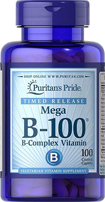 Viên Uống Vitamin B-100 Complex Timed Release Puritan's Pride Của Mỹ