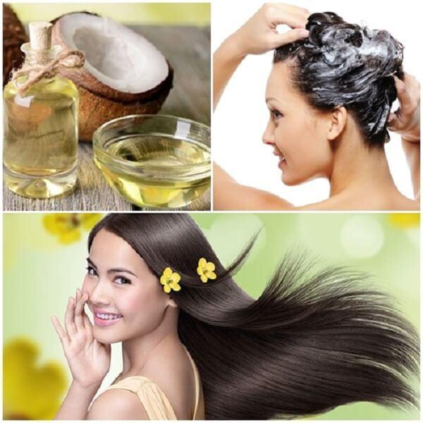 Sử dụng dầu dừa dưỡng tóc để phục hồi tóc bị hư tổn