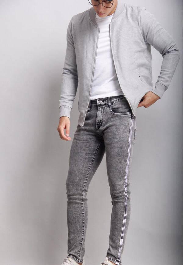 Áo khoác jeans nam cổ bomber