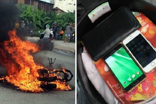 4 lý do không nên để điện thoại ở cốp xe: Xe máy bốc cháy trên cầu Quang Trung