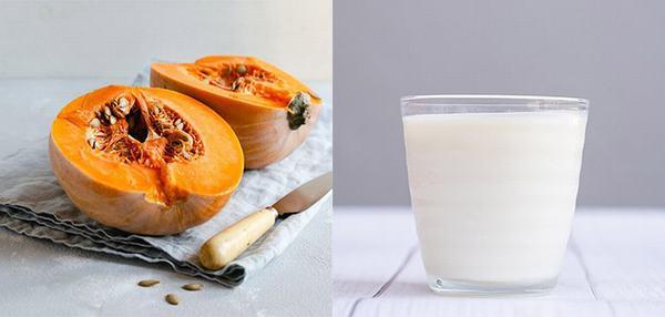Mặt nạ bí đỏ và sữa tươi không đường giúp giảm thâm, hỗ trợ làm mờ vết nám và tàn nhang